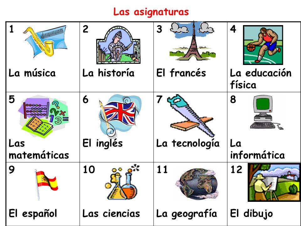 1 La música 2 La historía 3 El francés 4 La educación física 5 Las matemáticas 6 El inglés 7 La tecnología 8 La informática 9 El español 10 Las cienci