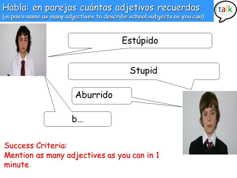 Habla: en parejas cuántas adjetivos recuerdas (in pairs name as many adjectives to describe school subjects as you can) Estúpido Stupid Aburrido b… Su
