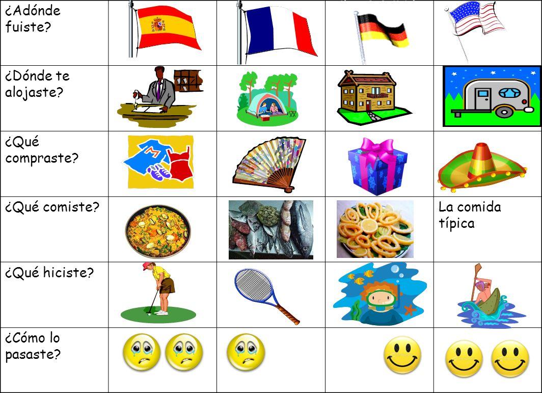 Unos verbos irregulares en el pasado 1.-Qué ________ en tus vacaciones? 2.- _____ a Italia con mi familia 3.Mi hermano y yo _______ de compras en las