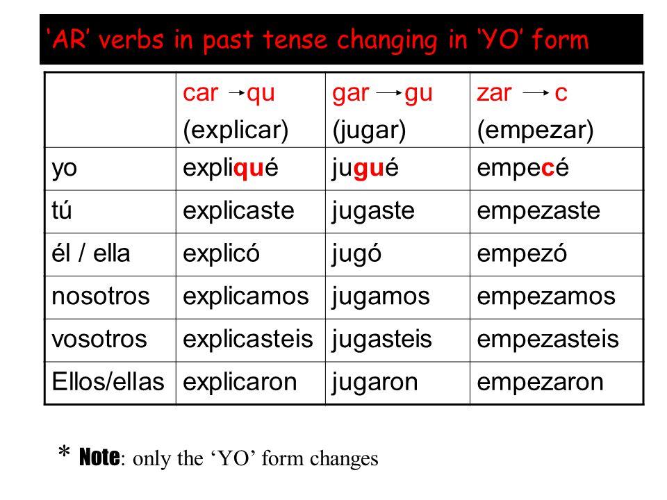 AR verbs in past tense changing in YO form car qu (explicar) gar gu (jugar) zar c (empezar) yoexpliquéjuguéempecé túexplicastejugasteempezaste él / ellaexplicójugóempezó nosotrosexplicamosjugamosempezamos vosotrosexplicasteisjugasteisempezasteis Ellos/ellasexplicaronjugaronempezaron * Note : only the YO form changes