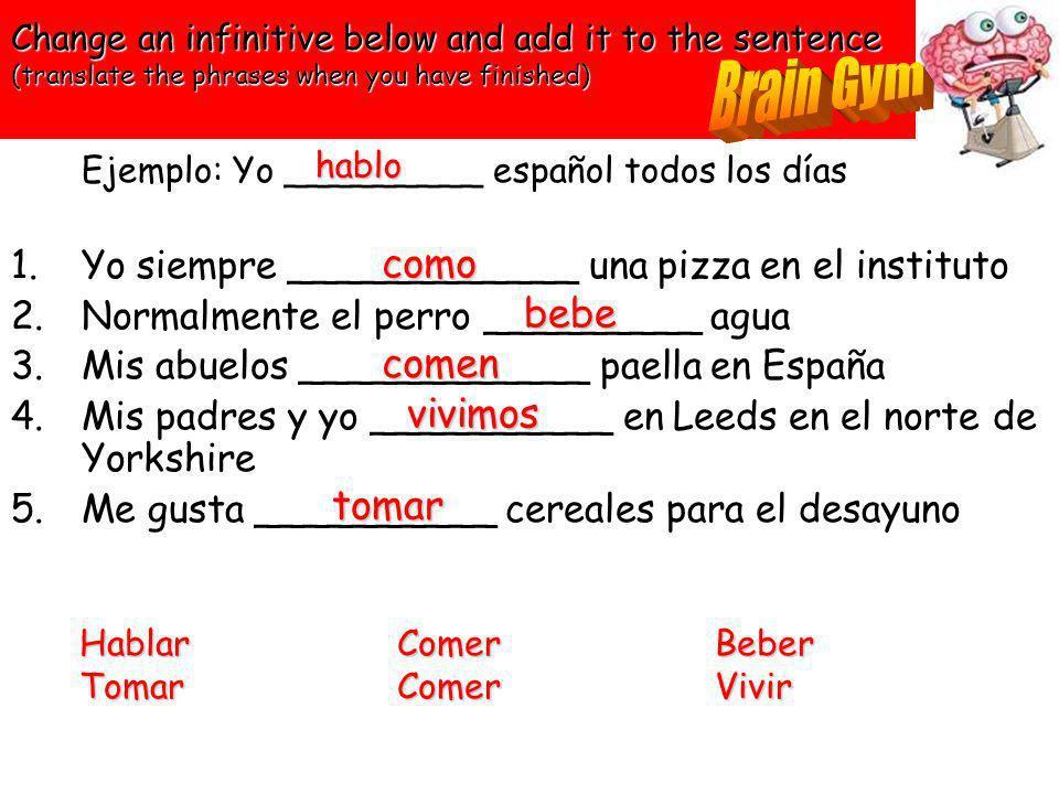 Write the correct form of each verb in brackets 1) Yo (comer) una pizza en el instituto 2) Tú (poner) la mesa 3) Mi amigo (recoger) su dormitorio 4) N
