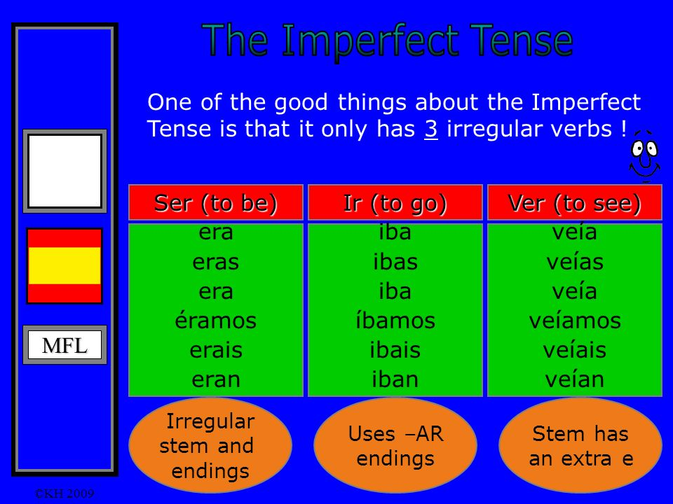 MFL ©KH 2009 One of the good things about the Imperfect Tense is that it only has 3 irregular verbs .