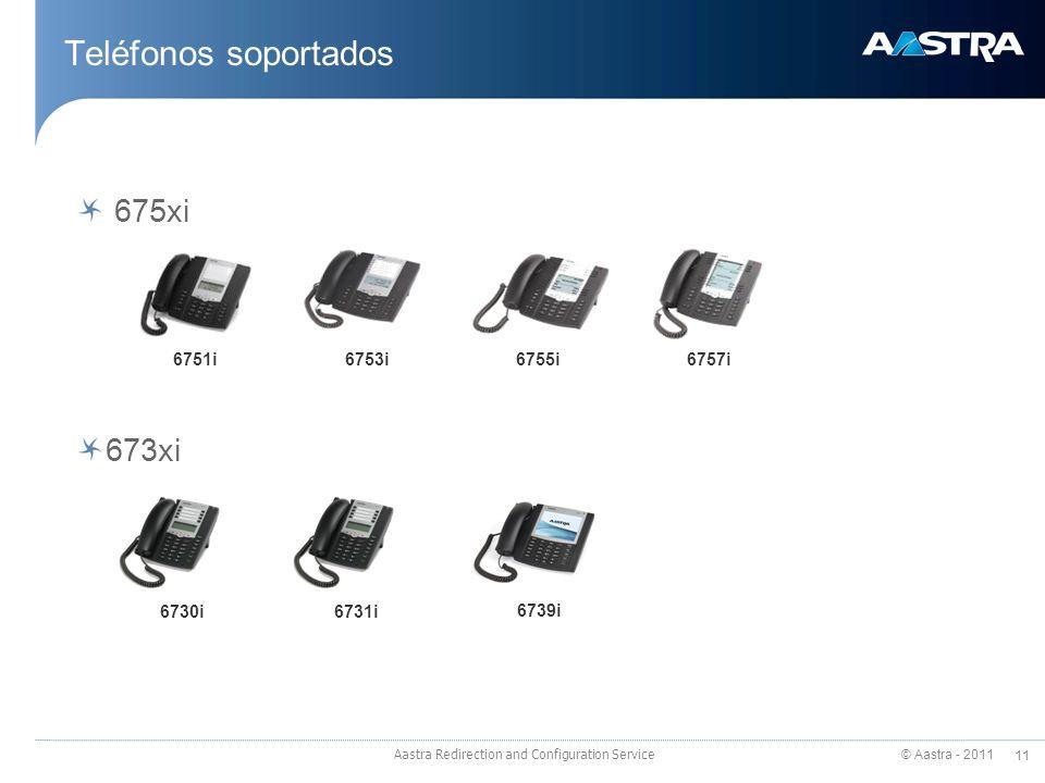 © Aastra - 2011 11 Aastra Redirection and Configuration Service Teléfonos soportados 675xi 673xi 6751i6753i6755i6757i 6730i6731i 6739i