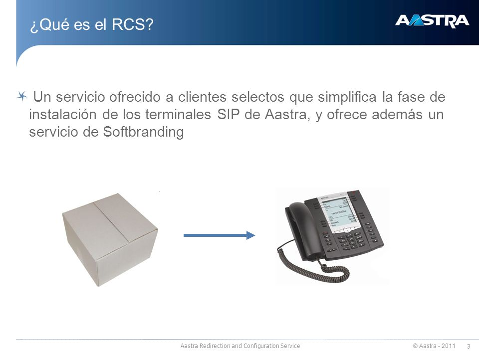 © Aastra - 2011 3 Aastra Redirection and Configuration Service ¿Qué es el RCS.