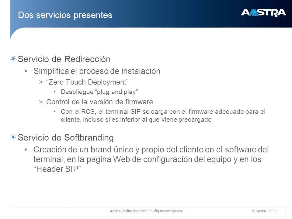 © Aastra - 2011 4 Aastra Redirection and Configuration Service Dos servicios presentes Servicio de Redirección Simplifica el proceso de instalación >Z