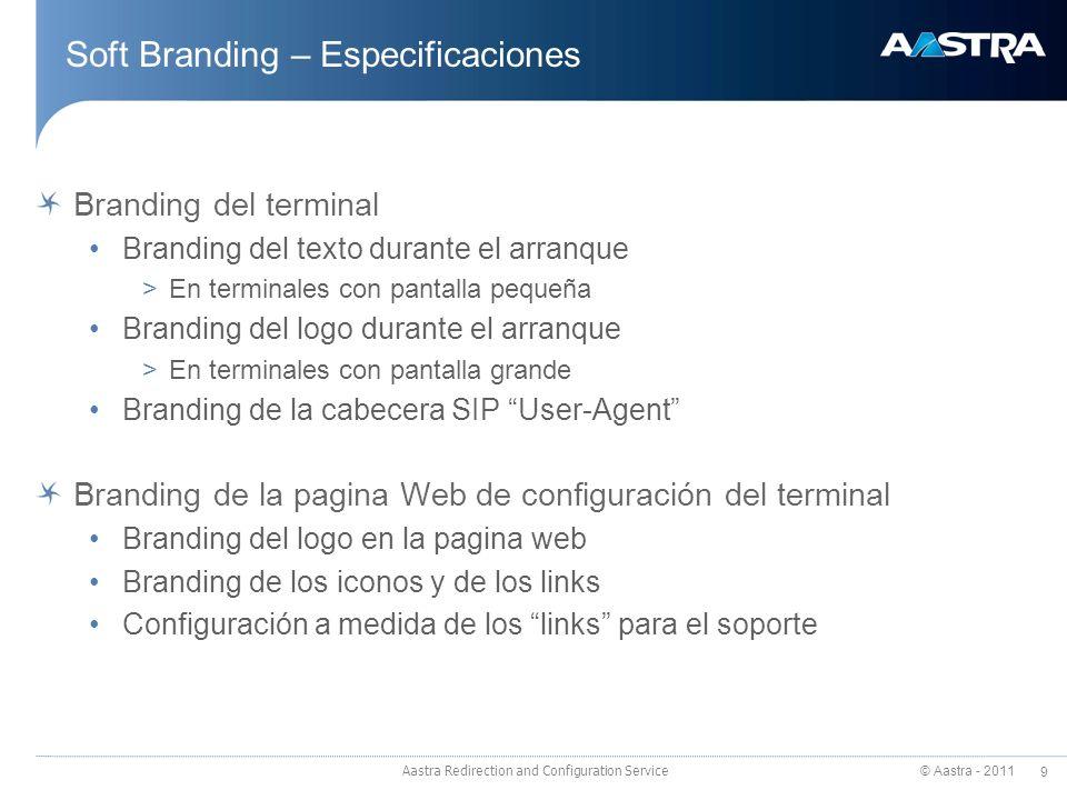 © Aastra - 2011 9 Aastra Redirection and Configuration Service Soft Branding – Especificaciones Branding del terminal Branding del texto durante el ar