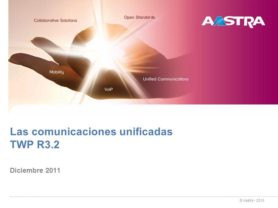 © Aastra - 2011 TWP R3.2 Diciembre 2011 Comunicaciones unificadas TWP Caller: contactos (chat) El chat se establece entre usuarios con TWP Chat punto a punto (entre 2 usuarios): basta con que tengan la licencia Caller Chat multipunto: los usuarios deben tener la licencia TWP VideoShare