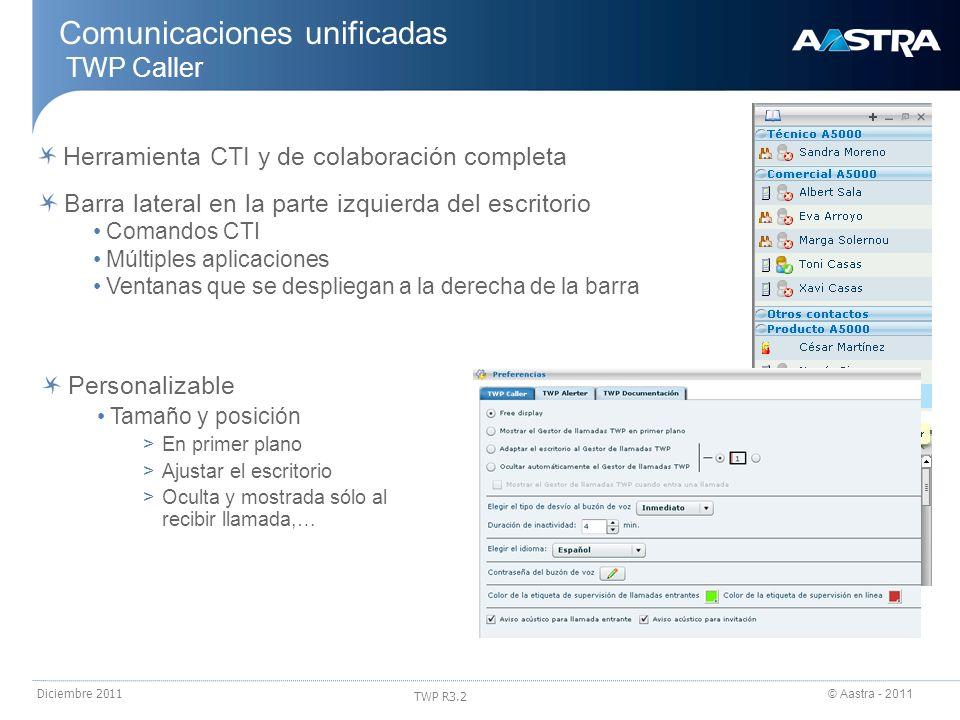 © Aastra - 2011 TWP R3.2 Diciembre 2011 Comunicaciones unificadas TWP Caller Herramienta CTI y de colaboración completa Barra lateral en la parte izqu