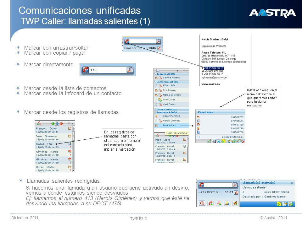 © Aastra - 2011 TWP R3.2 Diciembre 2011 Comunicaciones unificadas TWP Caller: llamadas salientes (1) Marcar con arrastrar/soltar Marcar con copiar / p