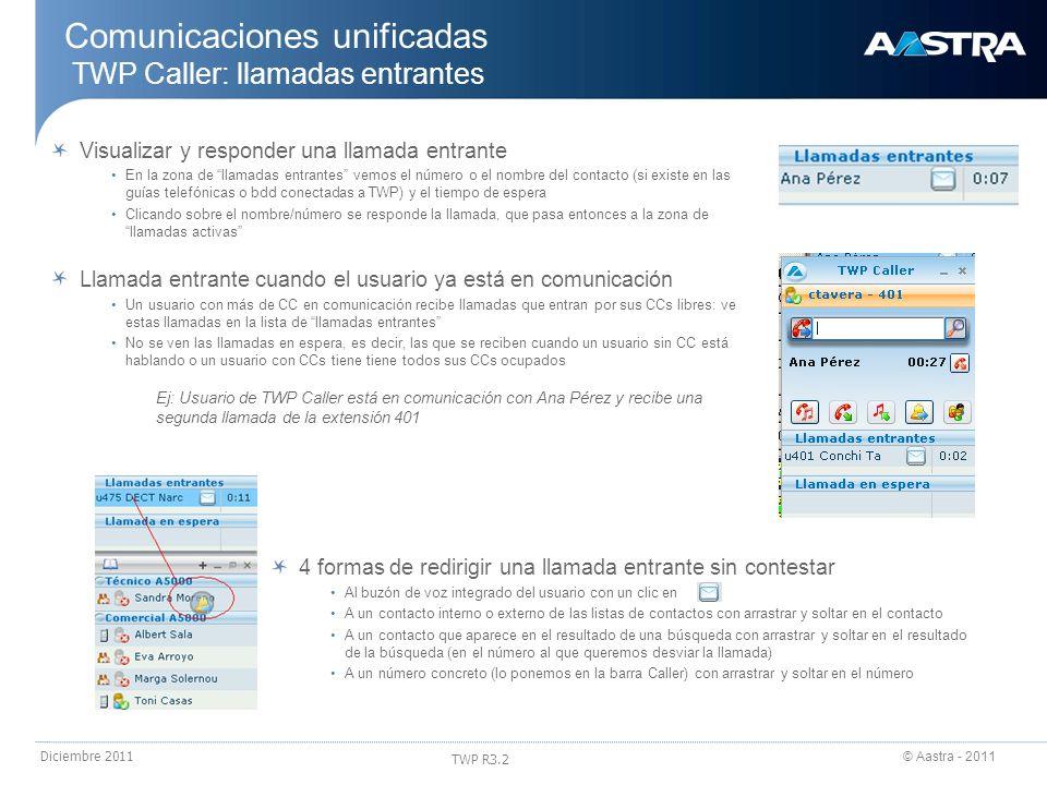 © Aastra - 2011 TWP R3.2 Diciembre 2011 Comunicaciones unificadas TWP Caller: llamadas entrantes Visualizar y responder una llamada entrante En la zon