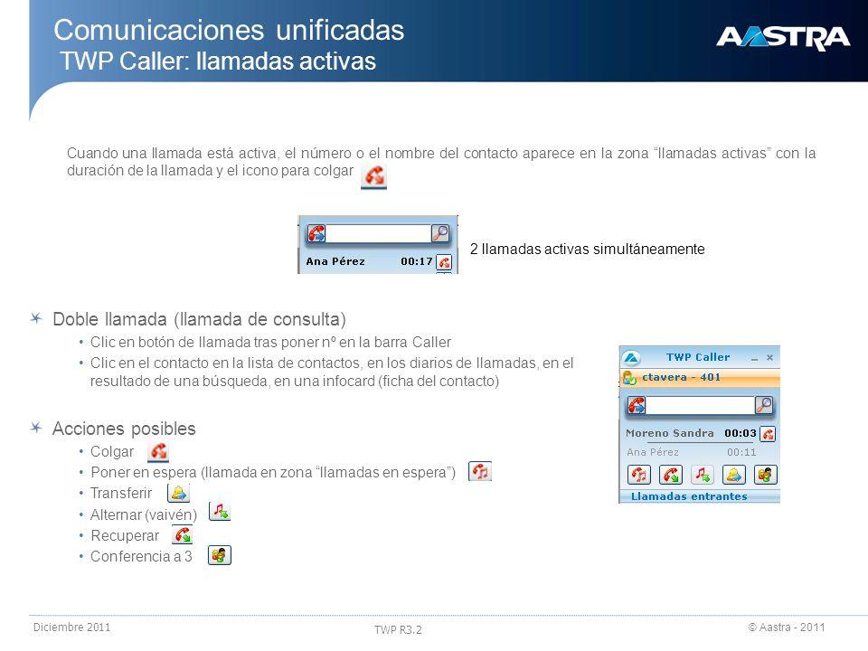 © Aastra - 2011 TWP R3.2 Diciembre 2011 Comunicaciones unificadas TWP Caller: llamadas activas Cuando una llamada está activa, el número o el nombre d
