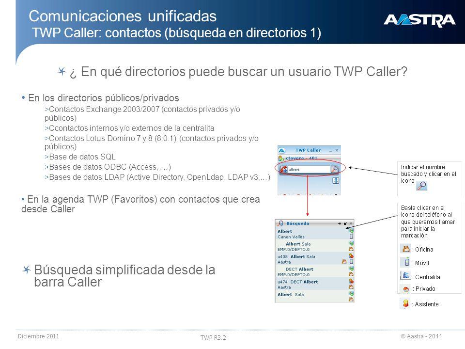© Aastra - 2011 TWP R3.2 Diciembre 2011 ¿ En qué directorios puede buscar un usuario TWP Caller? En los directorios públicos/privados > Contactos Exch