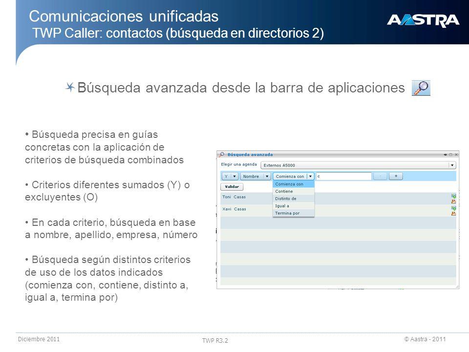© Aastra - 2011 TWP R3.2 Diciembre 2011 Comunicaciones unificadas TWP Caller: contactos (búsqueda en directorios 2) Búsqueda avanzada desde la barra d