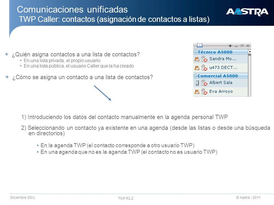© Aastra - 2011 TWP R3.2 Diciembre 2011 ¿Quién asigna contactos a una lista de contactos? En una lista privada, el propio usuario En una lista pública