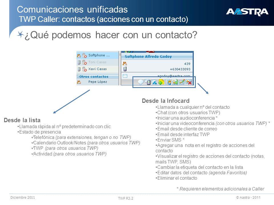 © Aastra - 2011 TWP R3.2 Diciembre 2011 ¿Qué podemos hacer con un contacto? Comunicaciones unificadas TWP Caller: contactos (acciones con un contacto)