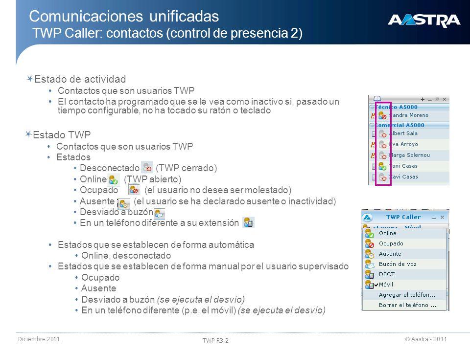 © Aastra - 2011 TWP R3.2 Diciembre 2011 Estado TWP Contactos que son usuarios TWP Estados Desconectado (TWP cerrado) Online (TWP abierto) Ocupado (el