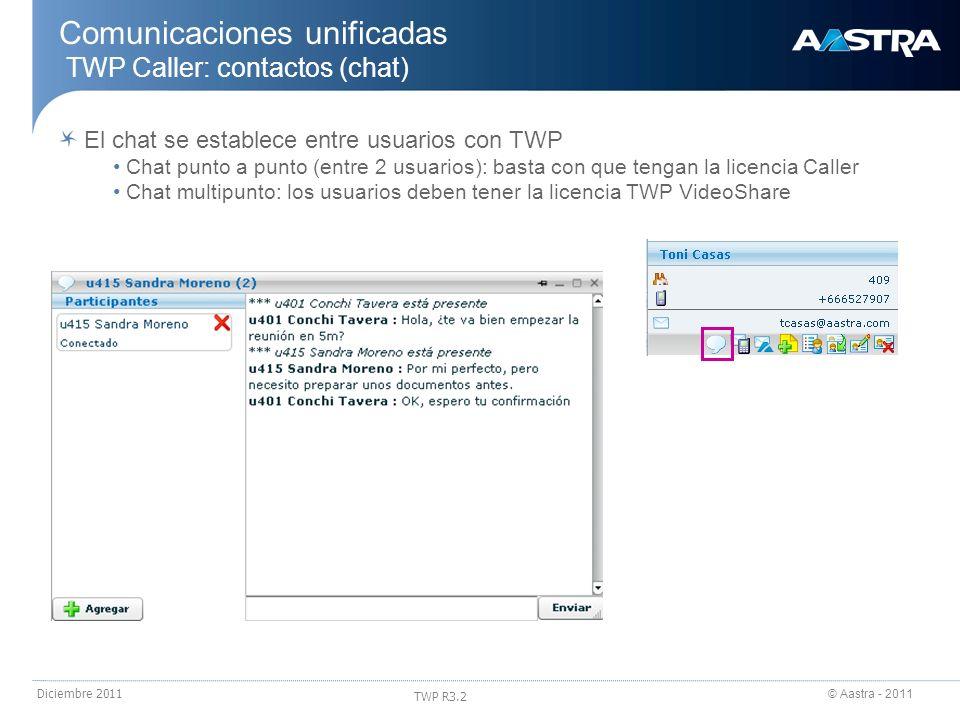 © Aastra - 2011 TWP R3.2 Diciembre 2011 Comunicaciones unificadas TWP Caller: contactos (chat) El chat se establece entre usuarios con TWP Chat punto