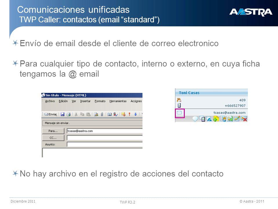 © Aastra - 2011 TWP R3.2 Diciembre 2011 Comunicaciones unificadas TWP Caller: contactos (email standard) Envío de email desde el cliente de correo ele