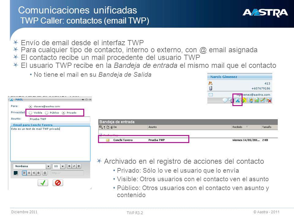 © Aastra - 2011 TWP R3.2 Diciembre 2011 Envío de email desde el interfaz TWP Para cualquier tipo de contacto, interno o externo, con @ email asignada
