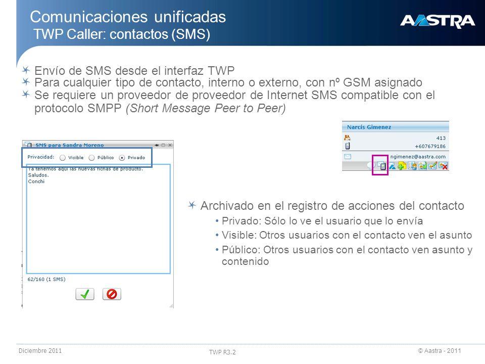 © Aastra - 2011 TWP R3.2 Diciembre 2011 Envío de SMS desde el interfaz TWP Para cualquier tipo de contacto, interno o externo, con nº GSM asignado Com