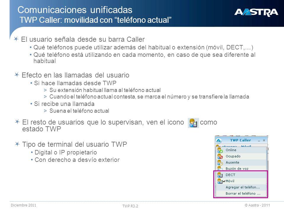 © Aastra - 2011 TWP R3.2 Diciembre 2011 Comunicaciones unificadas TWP Caller: movilidad con teléfono actual El usuario señala desde su barra Caller Qu