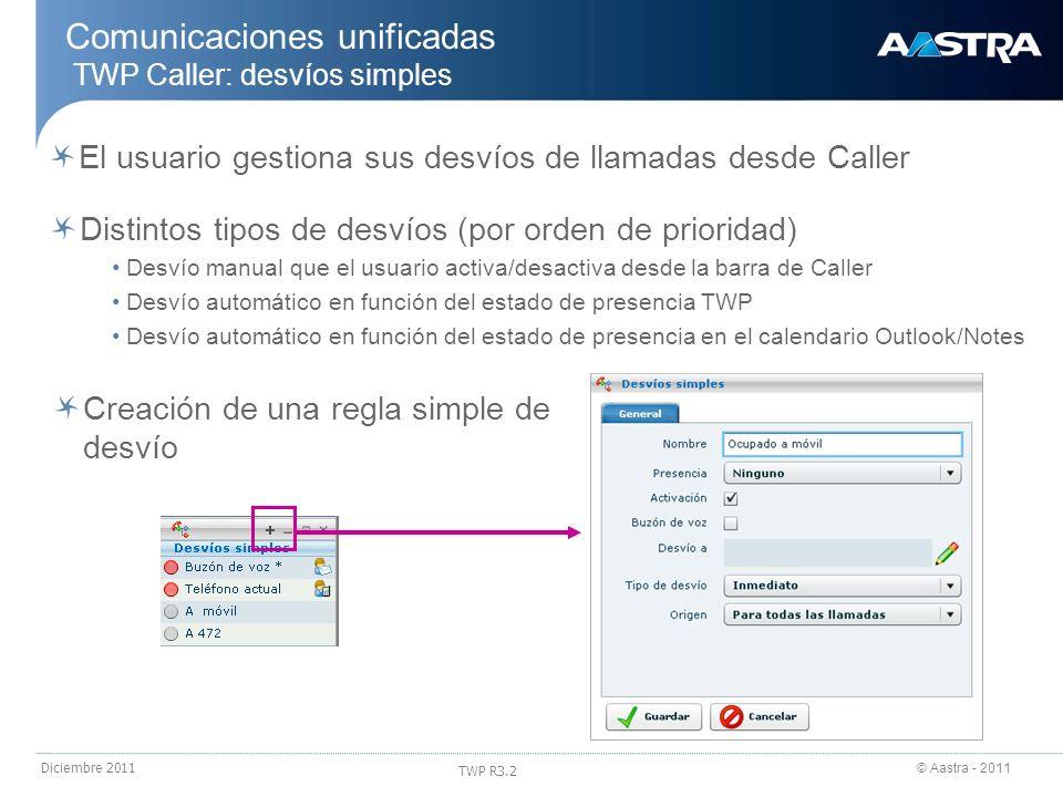 © Aastra - 2011 TWP R3.2 Diciembre 2011 Comunicaciones unificadas TWP Caller: desvíos simples El usuario gestiona sus desvíos de llamadas desde Caller