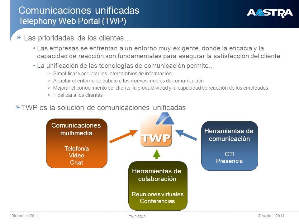 © Aastra - 2011 TWP R3.2 Diciembre 2011 Comunicaciones unificadas TWP Caller: llamadas activas Cuando una llamada está activa, el número o el nombre del contacto aparece en la zona llamadas activas con la duración de la llamada y el icono para colgar 2 llamadas activas simultáneamente Doble llamada (llamada de consulta) Clic en botón de llamada tras poner nº en la barra Caller Clic en el contacto en la lista de contactos, en los diarios de llamadas, en el resultado de una búsqueda, en una infocard (ficha del contacto) Acciones posibles Colgar Poner en espera (llamada en zona llamadas en espera) Transferir Alternar (vaivén) Recuperar Conferencia a 3