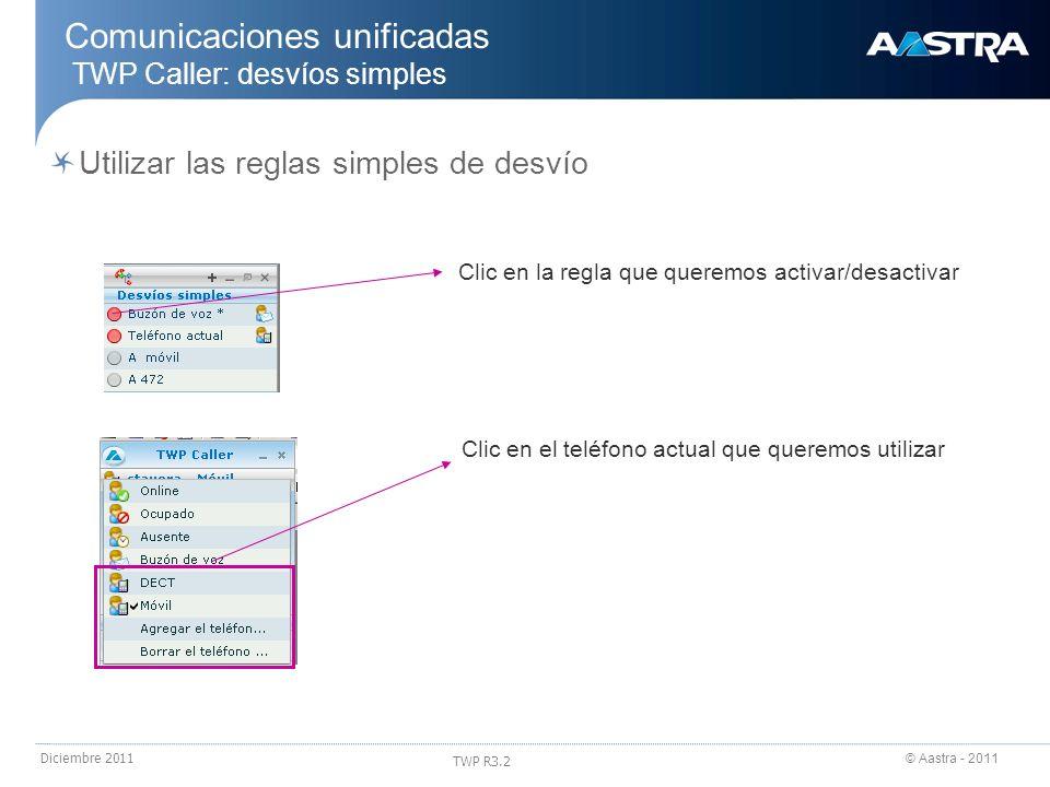 © Aastra - 2011 TWP R3.2 Diciembre 2011 Comunicaciones unificadas TWP Caller: desvíos simples Utilizar las reglas simples de desvío Clic en la regla q