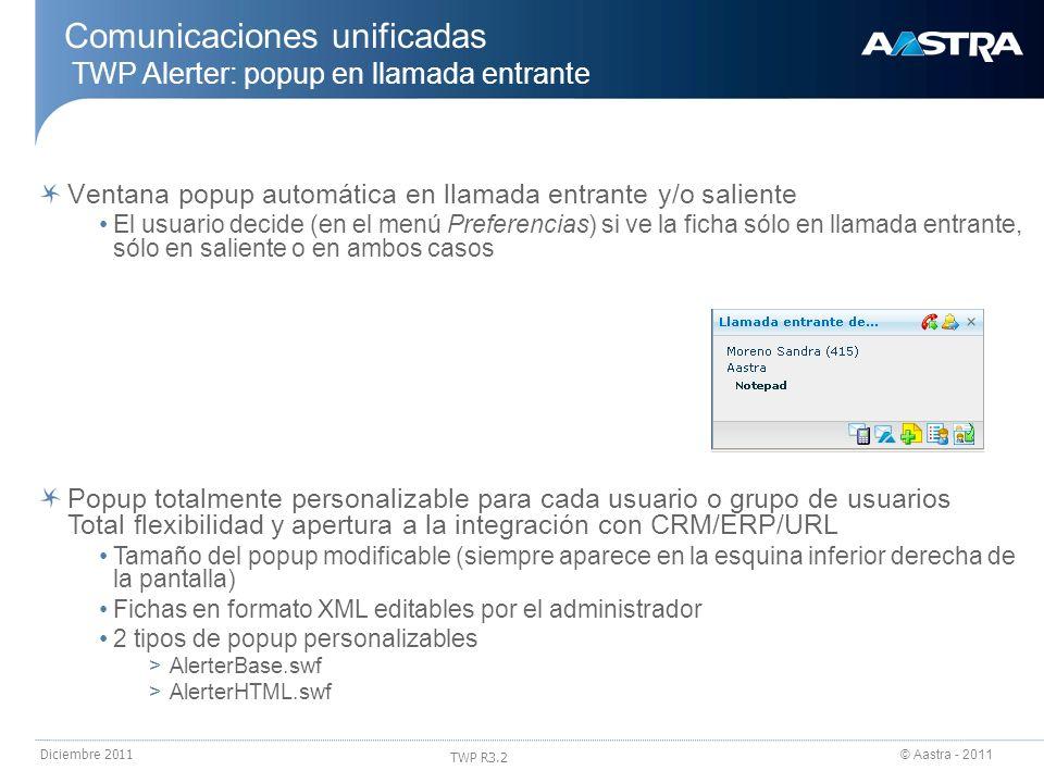 © Aastra - 2011 TWP R3.2 Diciembre 2011 Popup totalmente personalizable para cada usuario o grupo de usuarios Total flexibilidad y apertura a la integ