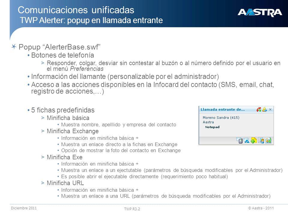 © Aastra - 2011 TWP R3.2 Diciembre 2011 Popup AlerterBase.swf Botones de telefonía >Responder, colgar, desviar sin contestar al buzón o al número defi
