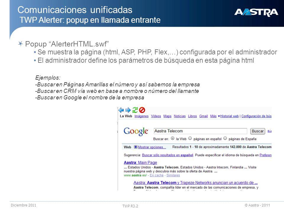 © Aastra - 2011 TWP R3.2 Diciembre 2011 Popup AlerterHTML.swf Se muestra la página (html, ASP, PHP, Flex,…) configurada por el administrador El admini