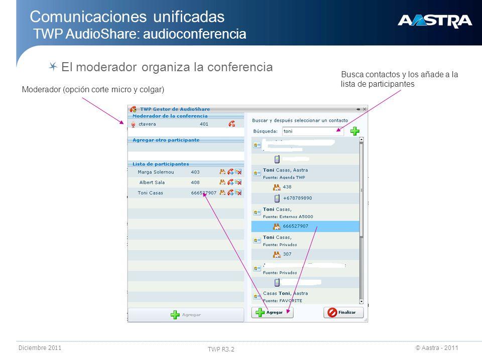 © Aastra - 2011 TWP R3.2 Diciembre 2011 Comunicaciones unificadas TWP AudioShare: audioconferencia El moderador organiza la conferencia Moderador (opc