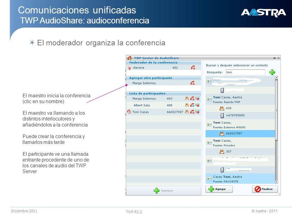 © Aastra - 2011 TWP R3.2 Diciembre 2011 Comunicaciones unificadas TWP AudioShare: audioconferencia El maestro inicia la conferencia (clic en su nombre