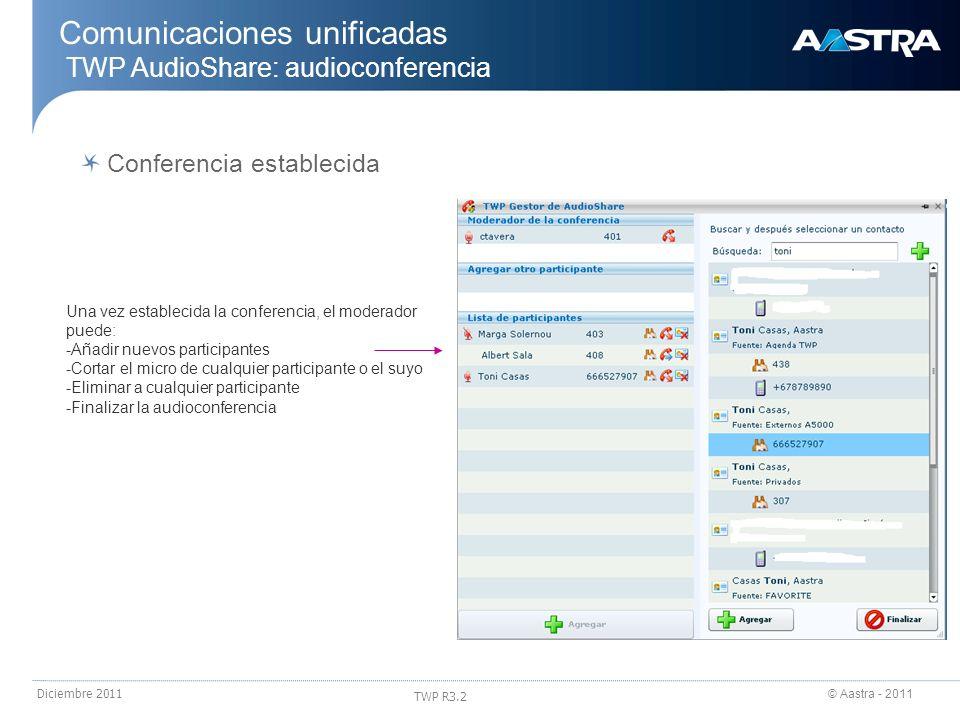© Aastra - 2011 TWP R3.2 Diciembre 2011 Comunicaciones unificadas TWP AudioShare: audioconferencia Una vez establecida la conferencia, el moderador pu