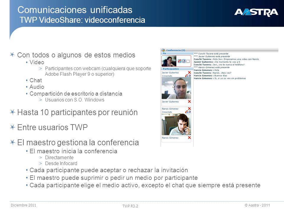 © Aastra - 2011 TWP R3.2 Diciembre 2011 Con todos o algunos de estos medios Video >Participantes con webcam (cualquiera que soporte Adobe Flash Player