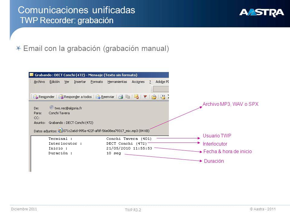 © Aastra - 2011 TWP R3.2 Diciembre 2011 Comunicaciones unificadas TWP Recorder: grabación Email con la grabación (grabación manual) Usuario TWP Interl