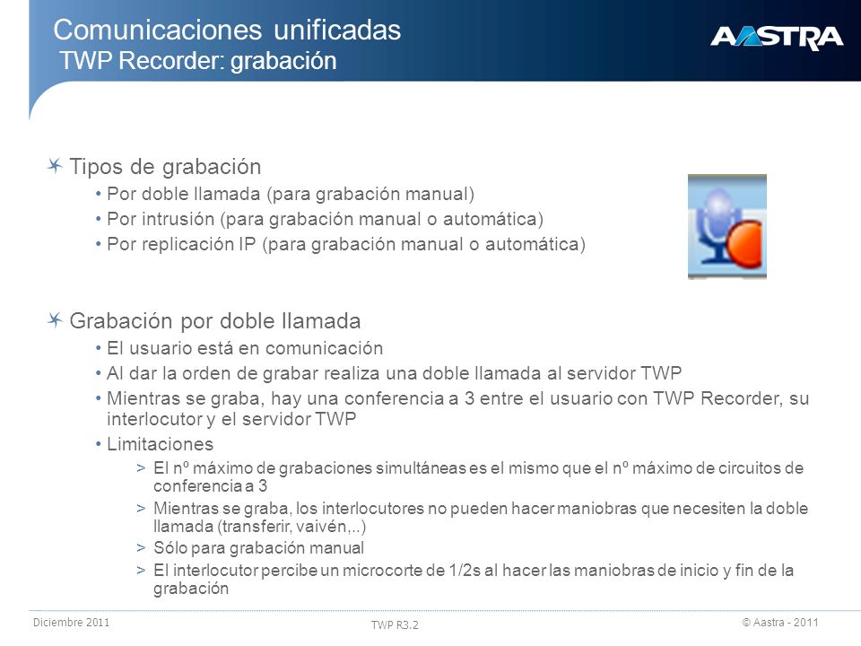 © Aastra - 2011 TWP R3.2 Diciembre 2011 Tipos de grabación Por doble llamada (para grabación manual) Por intrusión (para grabación manual o automática