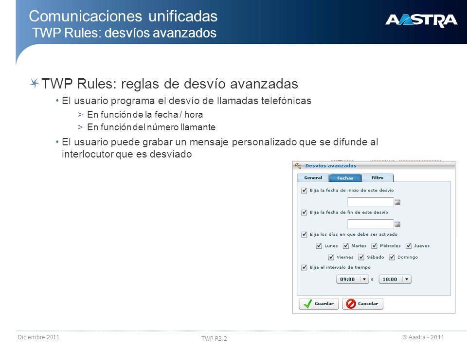 © Aastra - 2011 TWP R3.2 Diciembre 2011 Comunicaciones unificadas TWP Rules: desvíos avanzados TWP Rules: reglas de desvío avanzadas El usuario progra