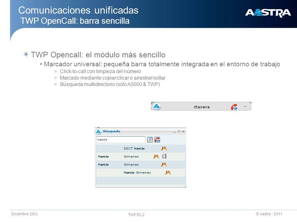 © Aastra - 2011 TWP R3.2 Diciembre 2011 Comunicaciones unificadas TWP OpenCall: barra sencilla TWP Opencall: el módulo más sencillo Marcador universal