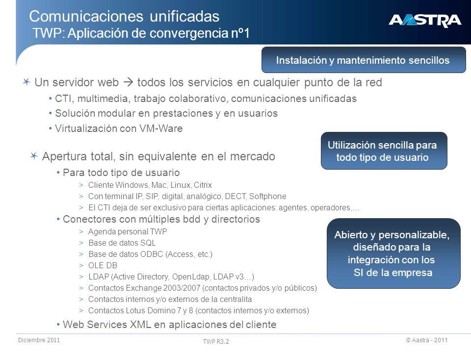 © Aastra - 2011 TWP R3.2 Diciembre 2011 Comunicaciones unificadas TWP: arquitectura Un servidor TWP puede ser compartido por distintas empresas (hasta 50) Gestión de múltiples empresas totalmente separadas, cada una con sus: >Dominios >Usuarios >Directorios >Monitorizaciones >Administradores,… Para cada empresa se pueden definir diferentes dominios (hasta 50 dominios por empresa) Un dominio es una plataforma neris o diversas plataformas en red multisede Todos los elementos del dominio comparten los parámetros de telefonía (directorios, plan de marcación,…) Un servidor puede gestionar… Hasta 8,000 usuarios o 20,000 llamadas/h Hasta 100,000 contactos en directorios