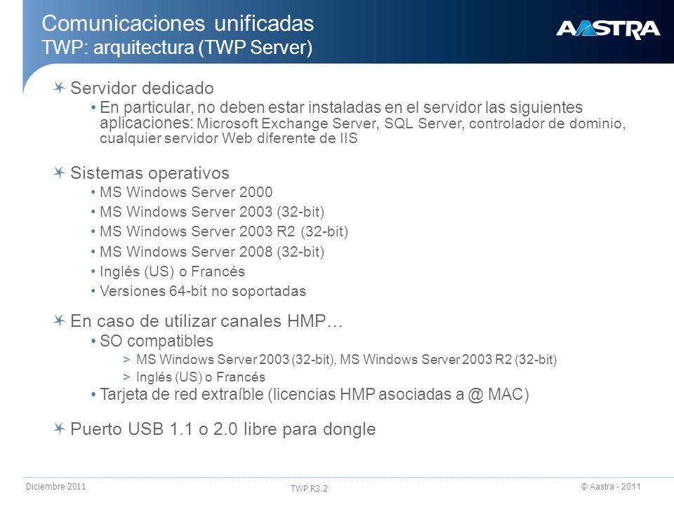 © Aastra - 2011 TWP R3.2 Diciembre 2011 Comunicaciones unificadas TWP: arquitectura (TWP Server) Servidor dedicado En particular, no deben estar insta