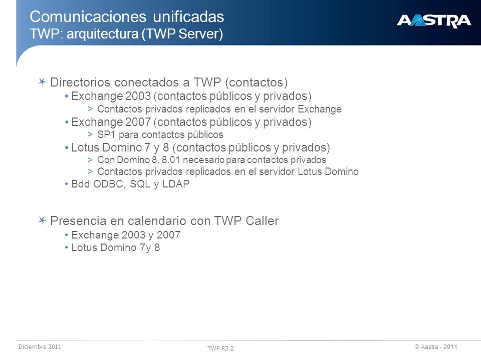 © Aastra - 2011 TWP R3.2 Diciembre 2011 Comunicaciones unificadas TWP: arquitectura (TWP Server) Directorios conectados a TWP (contactos) Exchange 200