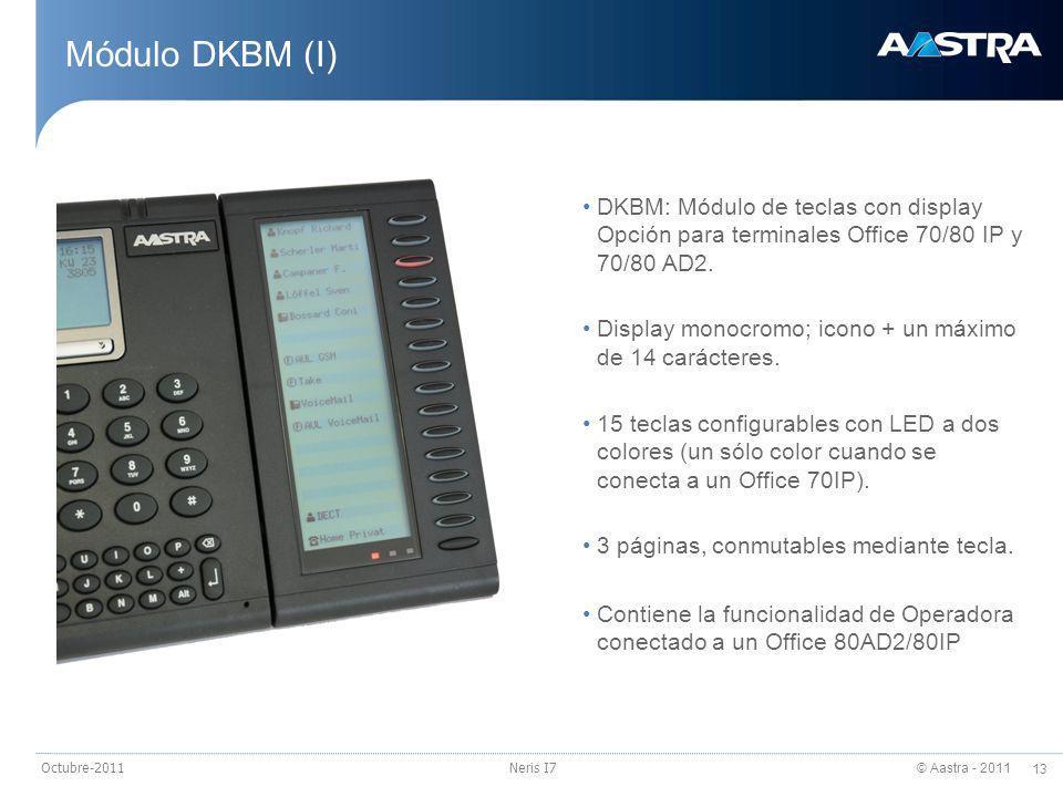 © Aastra - 2011 14 Octubre-2011Neris I7 Módulo DKBM (II) Los Office 70 y 80 IP pueden ampliarse con los módulos KBM ó DKBM.