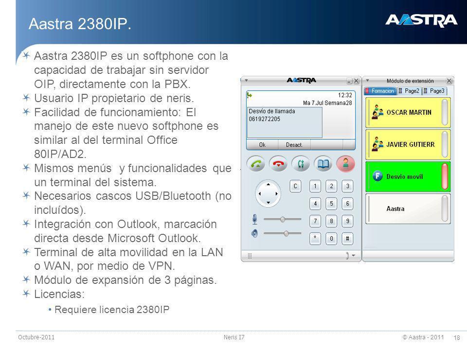 © Aastra - 2011 19 Octubre-2011Neris I7 Operadora en PC (I) Operadora en PC IP.