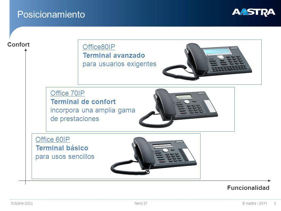 © Aastra - 2011 4 Octubre-2011Neris I7 Interfaz de usuario (I) Información correcta en el momento preciso Menú sensible al contexto: todas las opciones necesarias se muestran en la tecla Fox Menú de navegación intuitivo Tecla de navegación de 4 posiciones Concepto de Tecla Fox