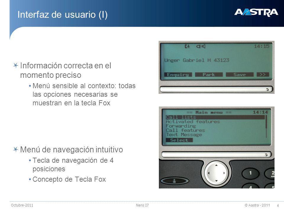 © Aastra - 2011 5 Octubre-2011Neris I7 Interfaz de usuario (II) Gran facilidad de uso Cómoda marcación por nombre Listas de llamadas organizadas: >Llamadas no contestadas >Llamadas contestadas >Lista de rellamada Teclas ergonómicas