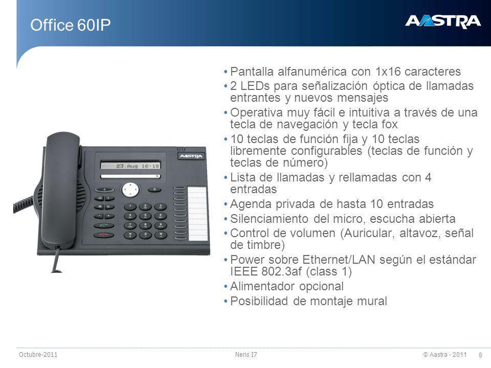 © Aastra - 2011 9 Octubre-2011Neris I7 Office 70IP 12 teclas duales de número o función, libremente programables con LED rojo.