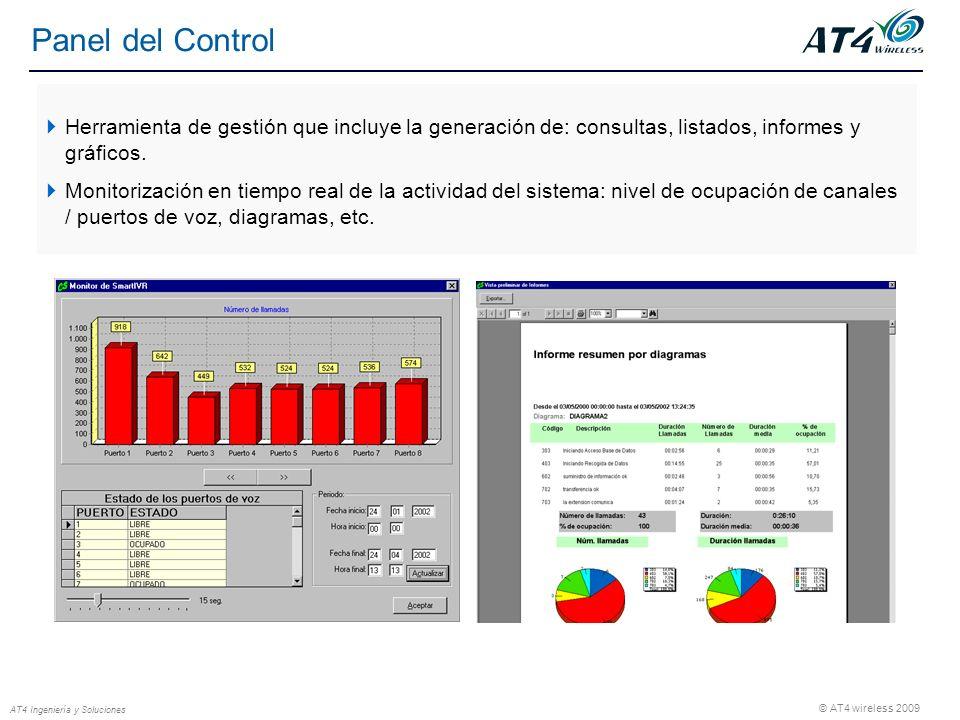 © AT4 wireless 2009 AT4 Ingeniería y Soluciones Panel del Control Herramienta de gestión que incluye la generación de: consultas, listados, informes y gráficos.