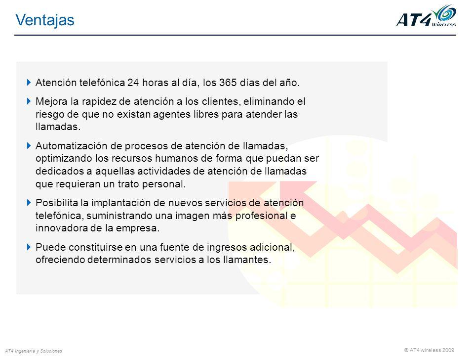 © AT4 wireless 2009 AT4 Ingeniería y Soluciones Atención telefónica 24 horas al día, los 365 días del año.