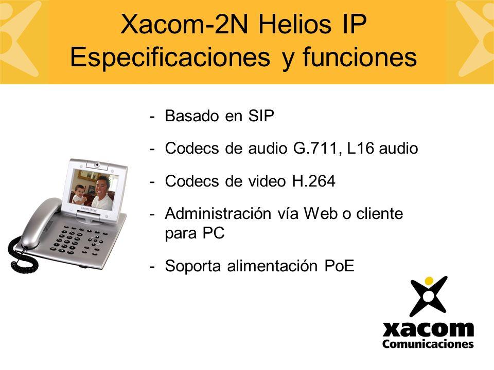 -Basado en SIP -Codecs de audio G.711, L16 audio -Codecs de video H.264 -Administración vía Web o cliente para PC -Soporta alimentación PoE Xacom-2N Helios IP Especificaciones y funciones